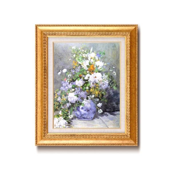 名画額縁/フレームセット 【F6号】 ルノワール 「花瓶の花」 460×552×55mm 壁掛けひも付き 金フレーム