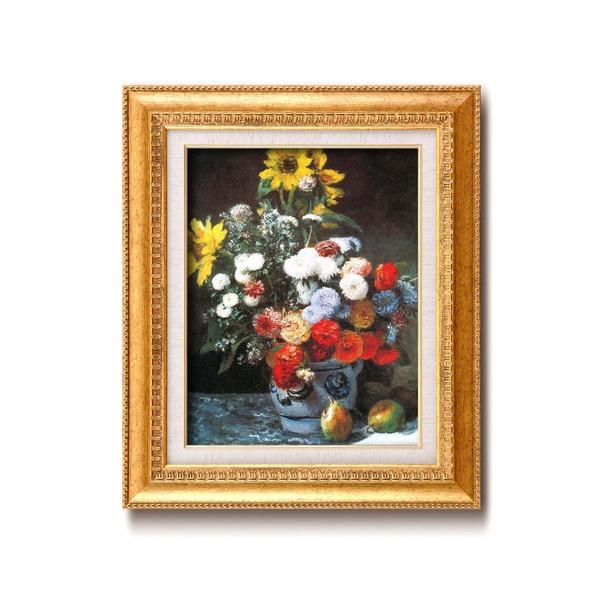 名画額縁/フレームセット 【F6号】 ルノワール 「花束」 460×552×55mm 壁掛けひも付き 金フレーム