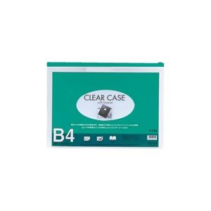 (業務用100セット) LIHITLAB クリアケース/書類入れ 【B4サイズ/マチなし】 ビニール製 透明 横型 F-75S グリーン(緑)