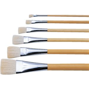(まとめ)アーテック 日本画筆/描画用具 【平筆 5号】 ポスター用 白毛/羊毛 【×30セット】