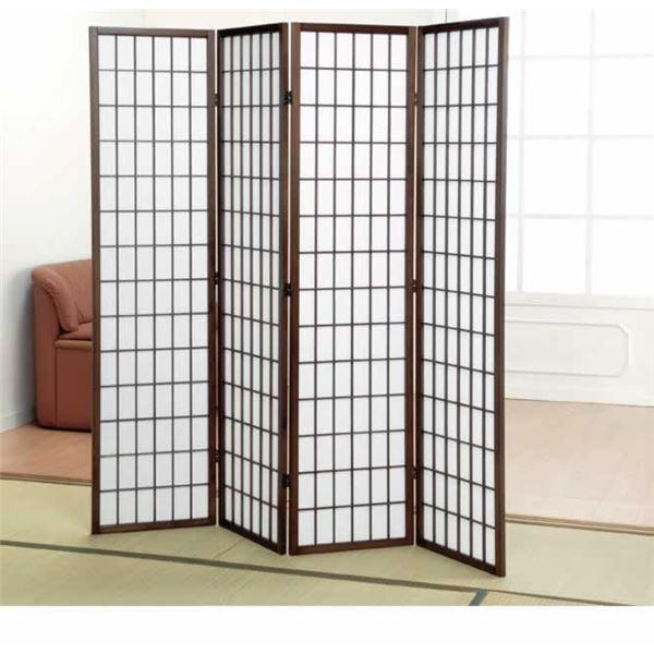 パーテーション/衝立/障子スクリーン4連 高さ178.5cm 木製フレーム【代引不可】