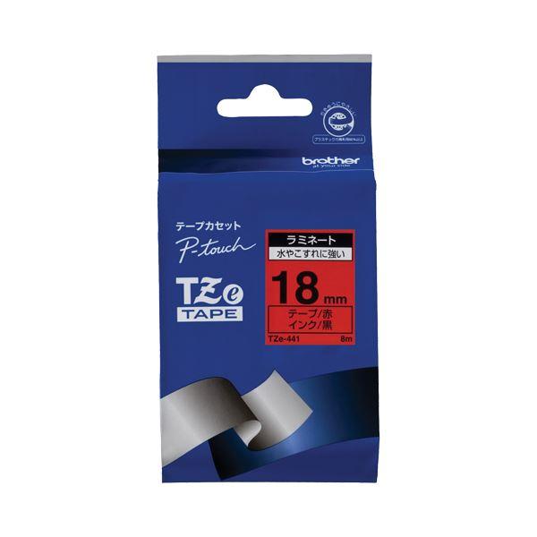 (まとめ) ブラザー BROTHER ピータッチ TZeテープ ラミネートテープ 18mm 赤/黒文字 TZE-441 1個 【×6セット】