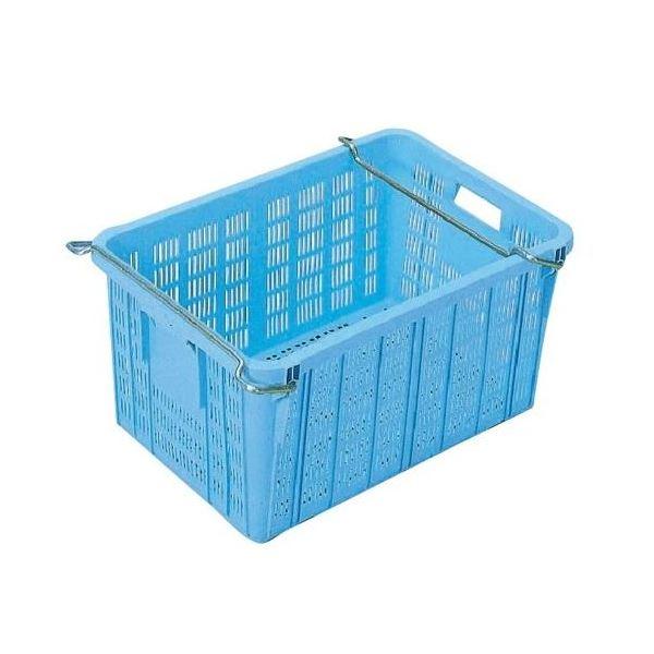 【5個セット】プラスケット/網目ボックス 【No.750 金具付き】 ブルー スタッキング金具使用時:段積み可【代引不可】