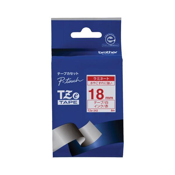 (まとめ) ブラザー BROTHER ピータッチ TZeテープ ラミネートテープ 18mm 白/赤文字 TZE-242 1個 【×6セット】