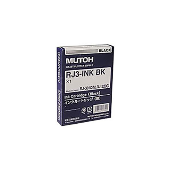 【スーパーSALE限定価格】(業務用3セット) 【純正品】 MUTOH ムトー インクカートリッジ 【RJ3-INK-BK ブラック】