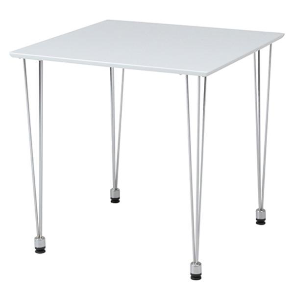 ダイニングテーブル/リビングテーブル 【ホワイト】 正方形 幅75cm スチールフレーム 〔インテリア家具 什器〕【代引不可】