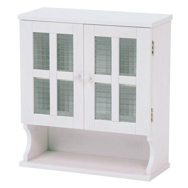 調味料ラック(キッチン収納/スパイスラック) 幅45cm ホワイト(白) 木製 扉付き 収納棚高さ調節可 カントリー調【代引不可】