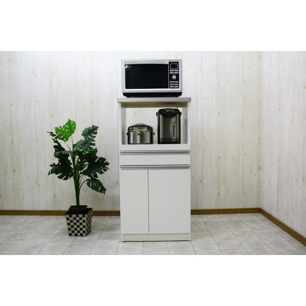 レンジ台(キッチン収納) 1型 幅60cm スライドレール/二口コンセント/米びつ付き 日本製 ホワイト(白) 【完成品】【代引不可】