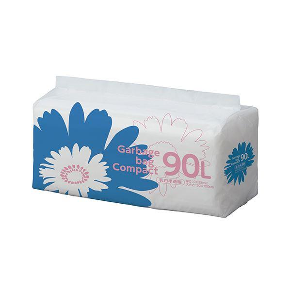 (まとめ)TANOSEE ゴミ袋 コンパクト乳白半透明 90L 1パック(50枚)【×5セット】