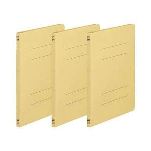 (まとめ)TANOSEE フラットファイル(ノンステープルタイプ)A4タテ 150枚収容 背幅18mm 黄 1パック(3冊)【×100セット】