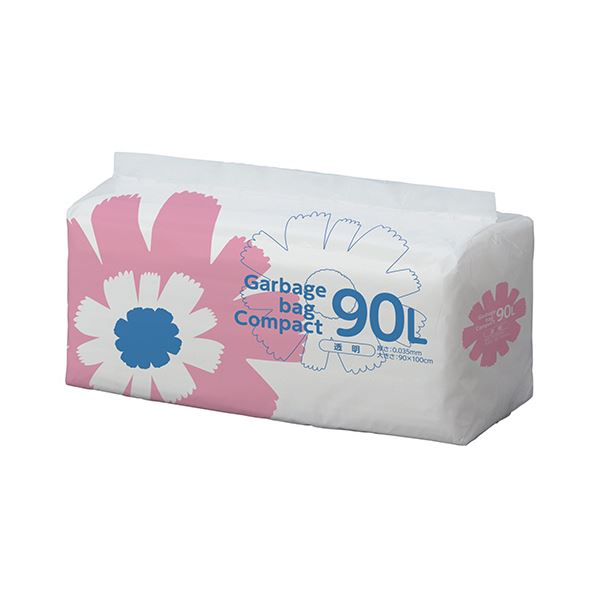 (まとめ)TANOSEE ゴミ袋 コンパクト 透明90L 1パック(50枚)【×5セット】