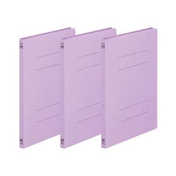 (まとめ)TANOSEE フラットファイル(ノンステープルタイプ)A4タテ 150枚収容 背幅18mm 紫 1パック(3冊)【×100セット】