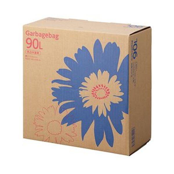 (まとめ)TANOSEE ゴミ袋 コンパクト乳白半透明 90L BOXタイプ 1箱(110枚)【×5セット】