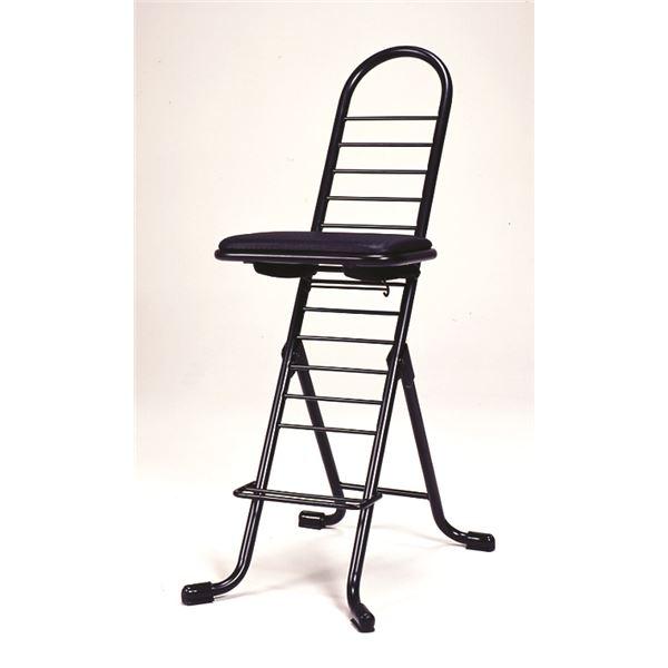 シンプル 折りたたみ椅子 【ブラック×ブラック】 SH83~33cm 日本製 スチールパイプ 『プロワークチェア』【代引不可】