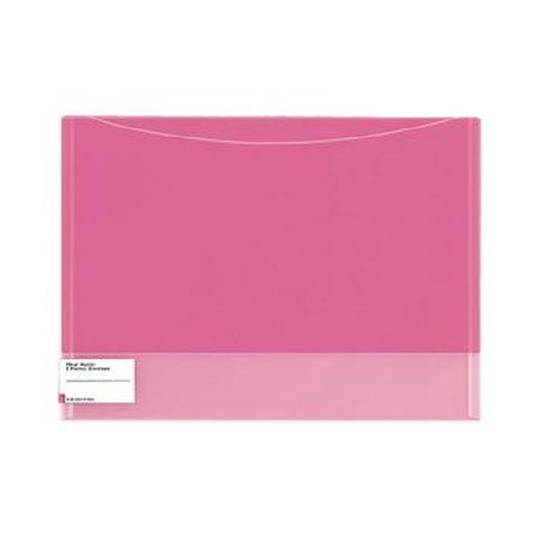 (まとめ)コクヨ クリヤーホルダー(2ポケットエンベロープ)A4 ピンク フ-5770P 1セット(5枚)【×10セット】