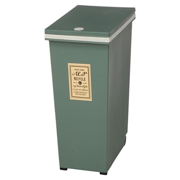 プッシュ式ダストボックス/ゴミ箱 【45L カーキ】 幅42cm ポリプロピレン製 キャスター付き 『アルフ』 【4個セット】【代引不可】