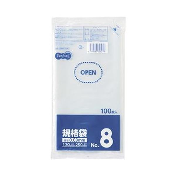 (まとめ)TANOSEE 規格袋 8号0.03×130×250mm 1セット(1000枚:100枚×10パック)【×10セット】
