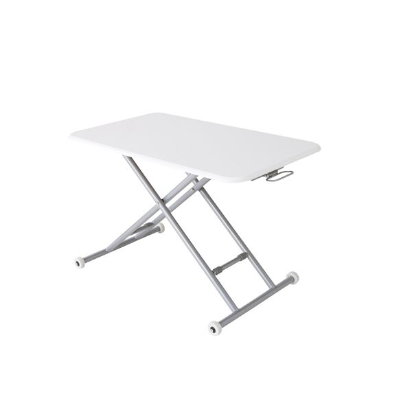NEW らくらく昇降式フリーテーブル木製 ホワイト【代引不可】