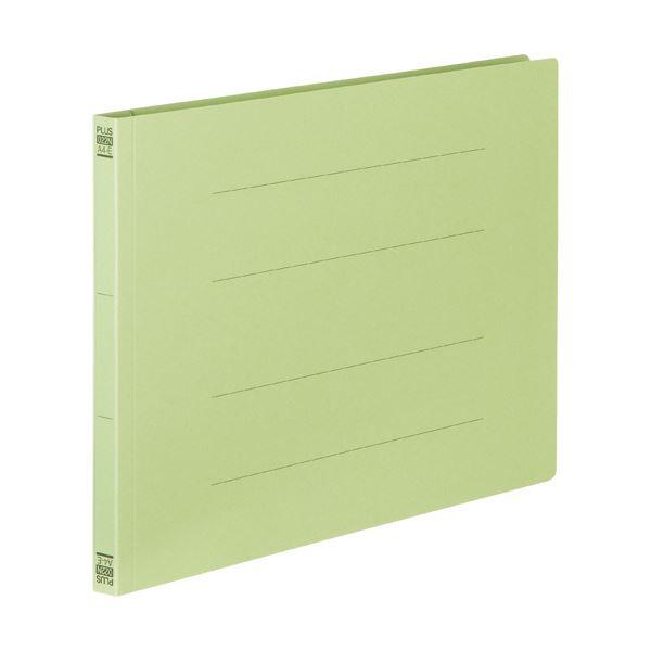 (まとめ) プラス フラットファイル 樹脂とじ具A4ヨコ 150枚収容 背幅18mm グリーン No.022N 1セット(10冊) 【×30セット】