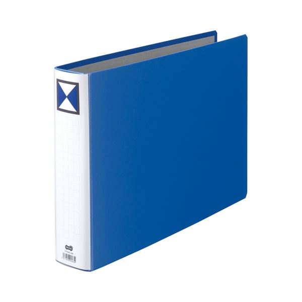 (まとめ) TANOSEE 両開きパイプ式ファイル B4ヨコ 500枚収容 背幅66mm 青 1冊 【×10セット】
