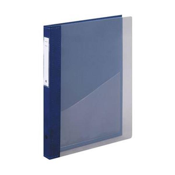 (まとめ)リヒトラブ カルテブック(クリヤー)A4タテ 4穴 背幅28mm ブルー HB417-1 1冊【×5セット】
