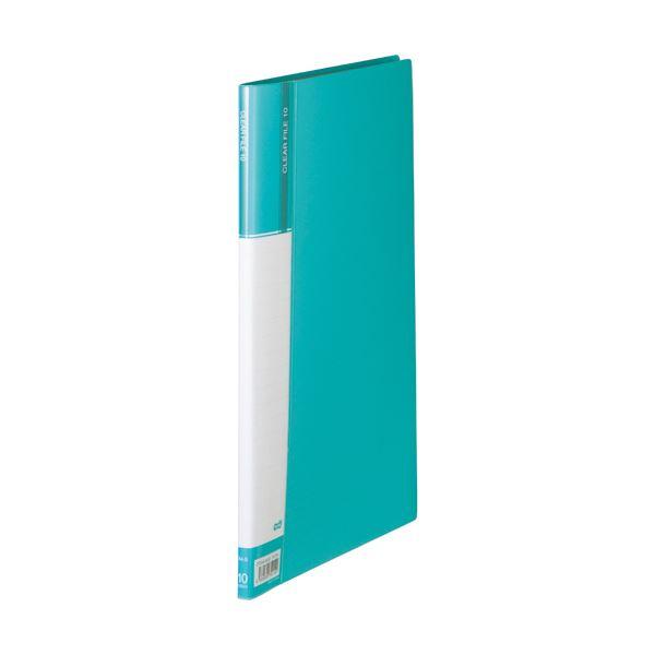 (まとめ) TANOSEEクリヤーファイル(台紙入) A4タテ 10ポケット 背幅11mm ライトブルー 1冊 【×50セット】