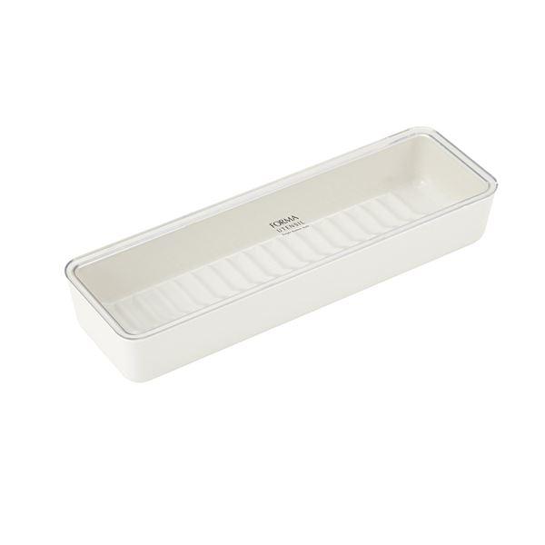 (まとめ) カトラリーケース/箸入れ 【フタ付き】 ホワイト キッチン用品 『フォルマ』 【40個セット】