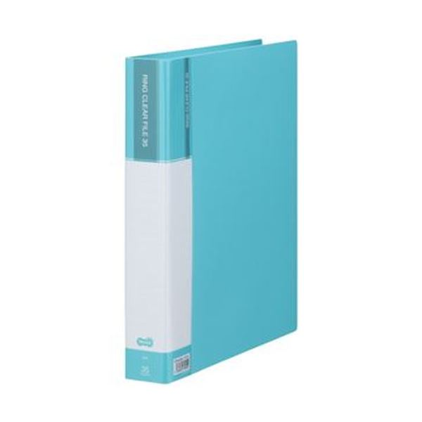 (まとめ)TANOSEE PPクリヤーファイル(差替式)A4タテ 30穴 35ポケット付属 背幅48mm ライトブルー 1冊【×10セット】