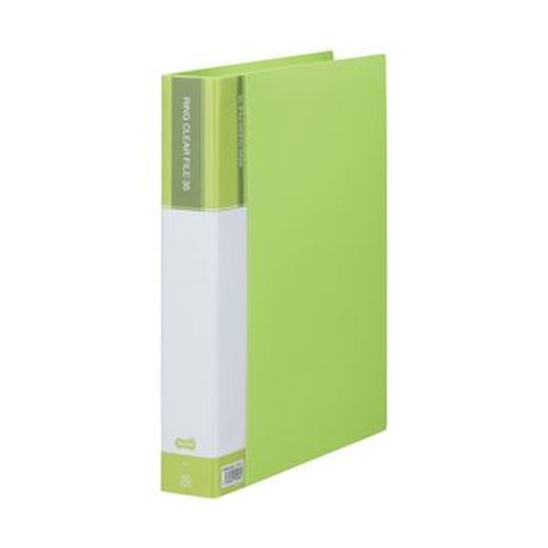 (まとめ)TANOSEE PPクリヤーファイル(差替式)A4タテ 30穴 35ポケット付属 背幅48mm ライトグリーン 1冊【×10セット】