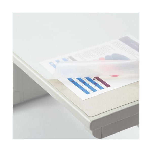 (まとめ)ライオン事務器 デスクマット再生オレフィン製 ノングレア仕上 ダブル(グレーフェルト付) 900×620×1.5mm No.7-FR 1枚【×3セット】