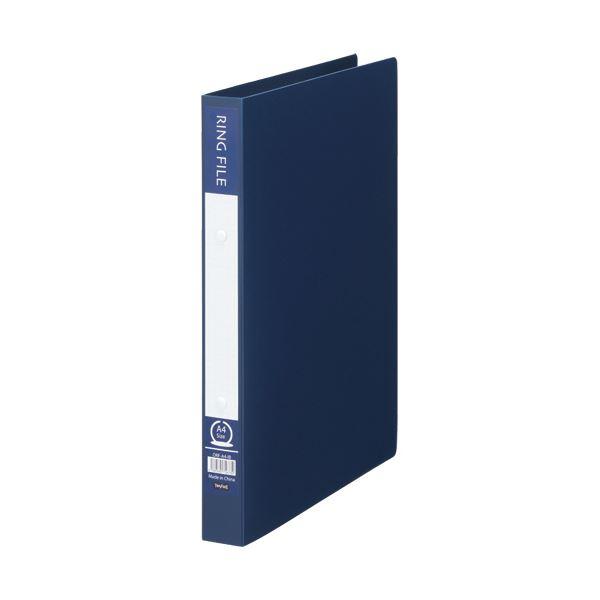 (まとめ)TANOSEE リングファイル(再生PP表紙)A4タテ 2穴 200枚収容 背幅30mm インディゴブルー 1セット(10冊)【×5セット】