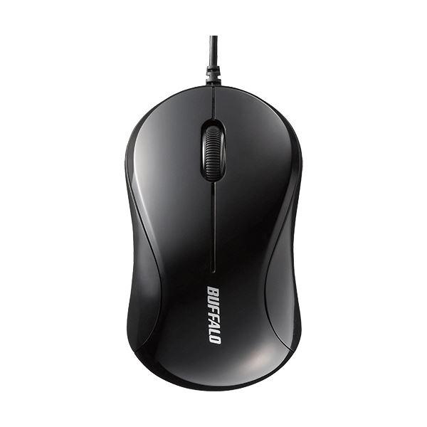 (まとめ) バッファロー 有線 光学式マウス3ボタンタイプ Sサイズ ブラック BSMOU050SBKZ 1個 【×10セット】