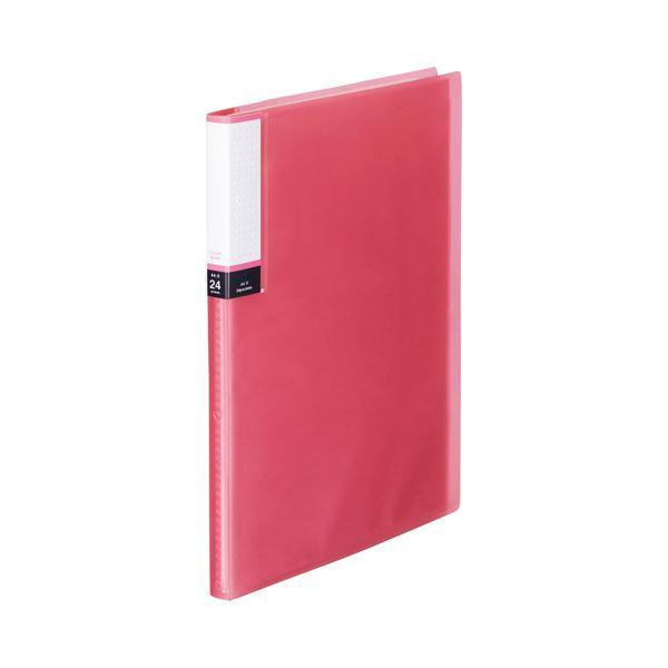 (まとめ) TANOSEE クリアブック(透明表紙) A4タテ 24ポケット 背幅15mm ピンク 1セット(10冊) 【×10セット】