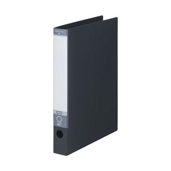 (まとめ)TANOSEE ワンタッチ開閉Oリングファイル A4タテ 2穴 220枚収容 背幅40mm ダークグレー 1冊【×50セット】