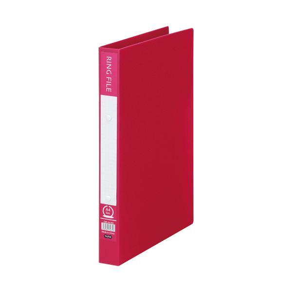 (まとめ)TANOSEE リングファイル(再生PP表紙)A4タテ 2穴 200枚収容 背幅30mm バーガンディ 1セット(10冊)【×5セット】