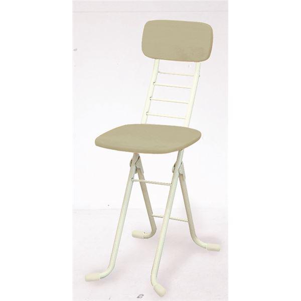 折りたたみ椅子 【2脚セット ホワイト×ミルキーホワイト】 幅35cm 日本製 高さ6段調節 スチールパイプ 『リリィチェアM』【代引不可】
