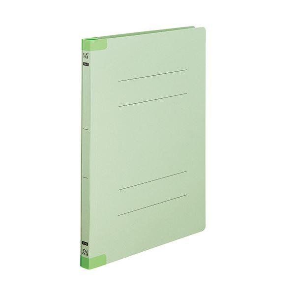 (まとめ) TANOSEEフラットファイル(背補強タイプ) A4タテ 150枚収容 背幅18mm グリーン1セット(30冊:10冊×3パック) 【×10セット】