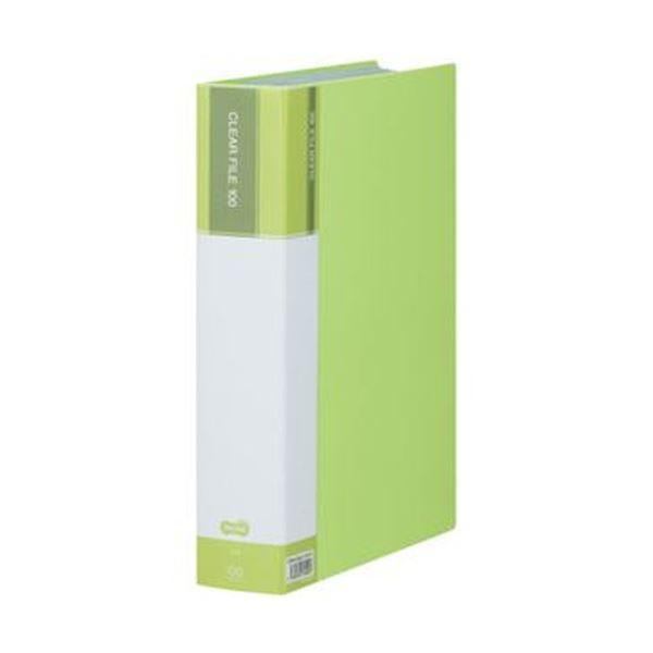 (まとめ)TANOSEE クリヤーファイル(台紙入)A4タテ 100ポケット 背幅62mm ライトグリーン 1冊【×10セット】