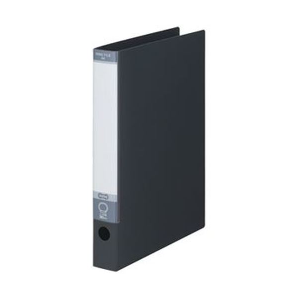 (まとめ)TANOSEE ワンタッチ開閉Oリングファイル A4タテ 2穴 220枚収容 背幅40mm ダークグレー 1セット(10冊)【×5セット】