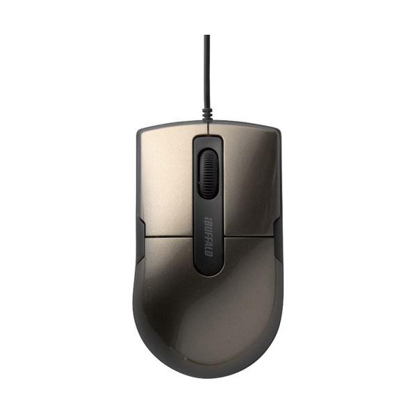 (まとめ) バッファロー 有線BlueLEDマウス静音 3ボタン Mサイズ ブラウン BSMBU26SMBW 1個 【×10セット】