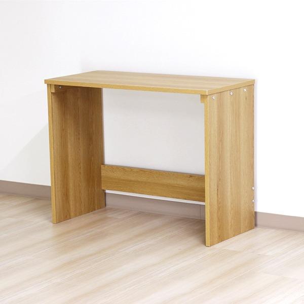 デスク ナチュラル 幅90cm ハイ タイプ 日本製 木製 シンプル コンパクト 在宅 テレ ワーク オフィス 勉強 机【代引不可】