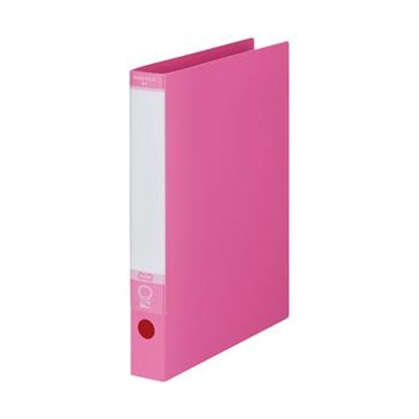 (まとめ)TANOSEE ワンタッチ開閉Oリングファイル A4タテ 2穴 220枚収容 背幅40mm ピンク 1セット(10冊)【×5セット】