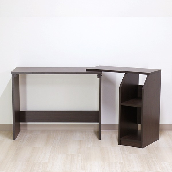 デスク ブラウン 幅90cm 伸長 システム ハイ タイプ 日本製 木製 棚 収納 付き 在宅 テレ ワーク オフィス 勉強 机【代引不可】