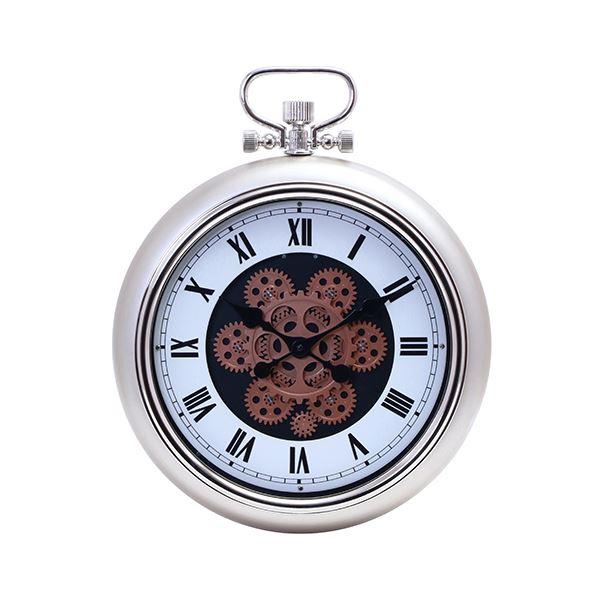 壁掛け時計/ウォールクロック 【Mサイズ シャンパン】 幅400×奥行97×高さ495mm 『ギア』 〔リビング ダイニング〕【代引不可】