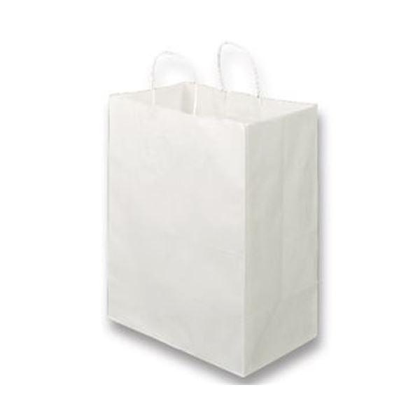 (まとめ)TANOSEE 紙手提袋 丸紐マチ広・大 ヨコ350×タテ440×マチ幅210mm 白無地 1パック(50枚)【×5セット】