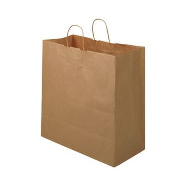 (まとめ)TANOSEE 紙手提袋 丸紐マチ広・特大 ヨコ430×タテ440×マチ幅210mm 茶無地 1パック(50枚)【×5セット】