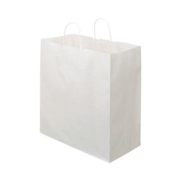 (まとめ)TANOSEE 紙手提袋 丸紐マチ広・特大 ヨコ430×タテ440×マチ幅210mm 白無地 1パック(50枚)【×5セット】