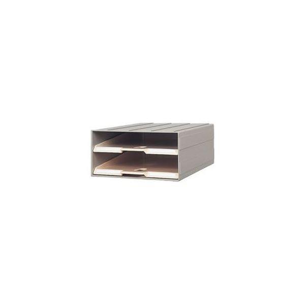 (まとめ)サカセ化学工業 ビジネスカセッターカタログトレー A4 2段 グレー A4-2 1台【×3セット】