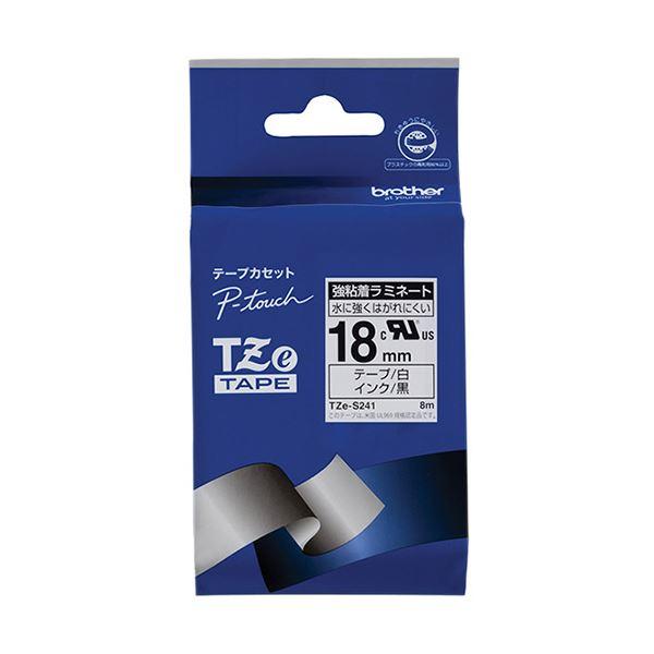 (まとめ) ブラザー ピータッチ TZeテープ強粘着ラミネートテープ 18mm 白/黒文字 TZE-S241 1個 【×10セット】