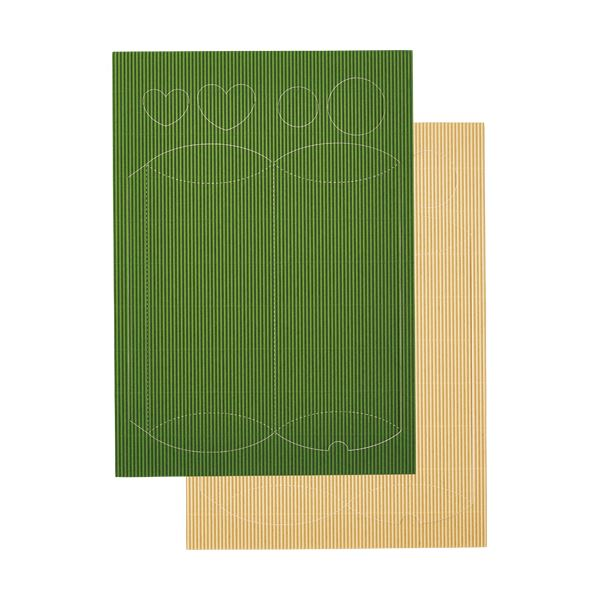 (まとめ) ヒサゴ リップルボード 薄口 型抜きギフトBOX グリーン・クリーム RBUT5 1パック 【×30セット】